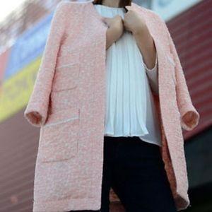 Zara Peach Pink Jacquard Coat Size Small